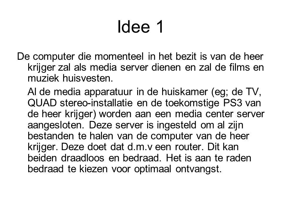 Idee 1 De computer die momenteel in het bezit is van de heer krijger zal als media server dienen en zal de films en muziek huisvesten.
