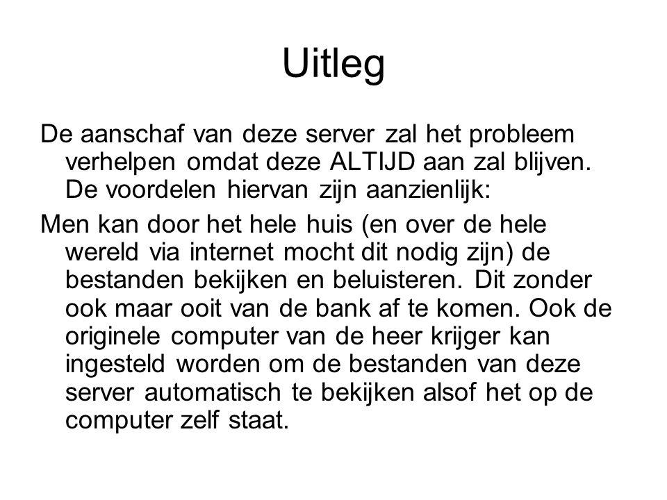 Uitleg De aanschaf van deze server zal het probleem verhelpen omdat deze ALTIJD aan zal blijven.