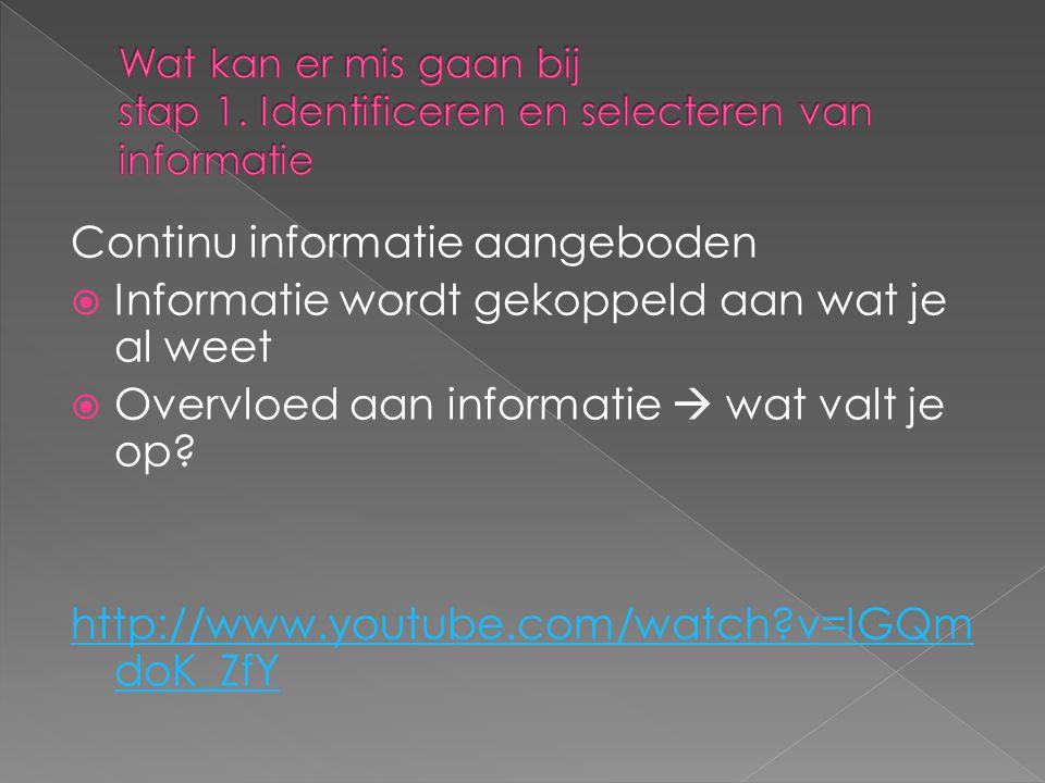 Continu informatie aangeboden  Informatie wordt gekoppeld aan wat je al weet  Overvloed aan informatie  wat valt je op.