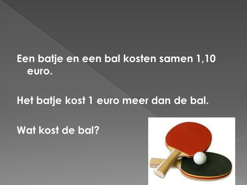 Een batje en een bal kosten samen 1,10 euro.Het batje kost 1 euro meer dan de bal.