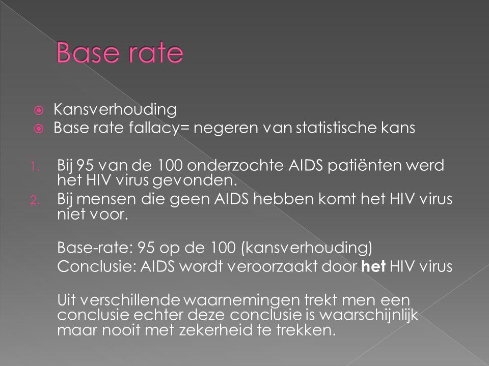  Kansverhouding  Base rate fallacy= negeren van statistische kans 1.