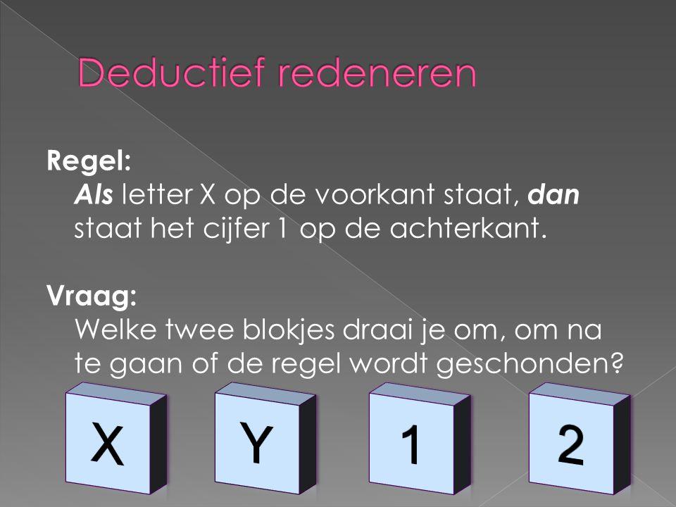 Regel: Als letter X op de voorkant staat, dan staat het cijfer 1 op de achterkant.