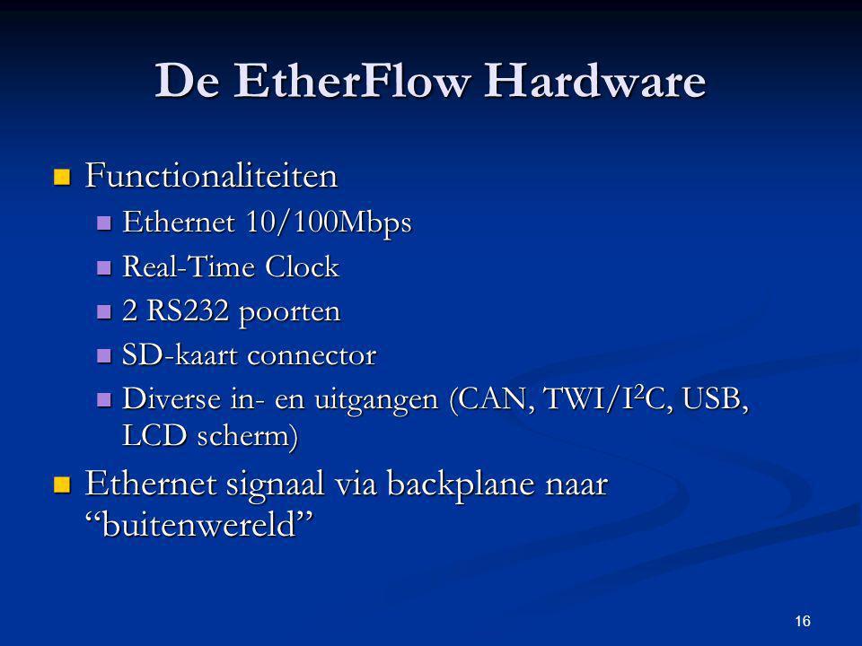 16 De EtherFlow Hardware Functionaliteiten Functionaliteiten Ethernet 10/100Mbps Ethernet 10/100Mbps Real-Time Clock Real-Time Clock 2 RS232 poorten 2