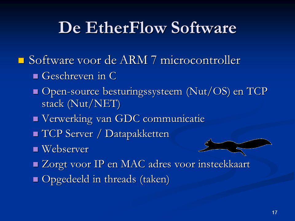 17 De EtherFlow Software Software voor de ARM 7 microcontroller Software voor de ARM 7 microcontroller Geschreven in C Geschreven in C Open-source bes