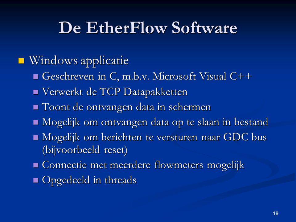 19 De EtherFlow Software Windows applicatie Windows applicatie Geschreven in C, m.b.v. Microsoft Visual C++ Geschreven in C, m.b.v. Microsoft Visual C