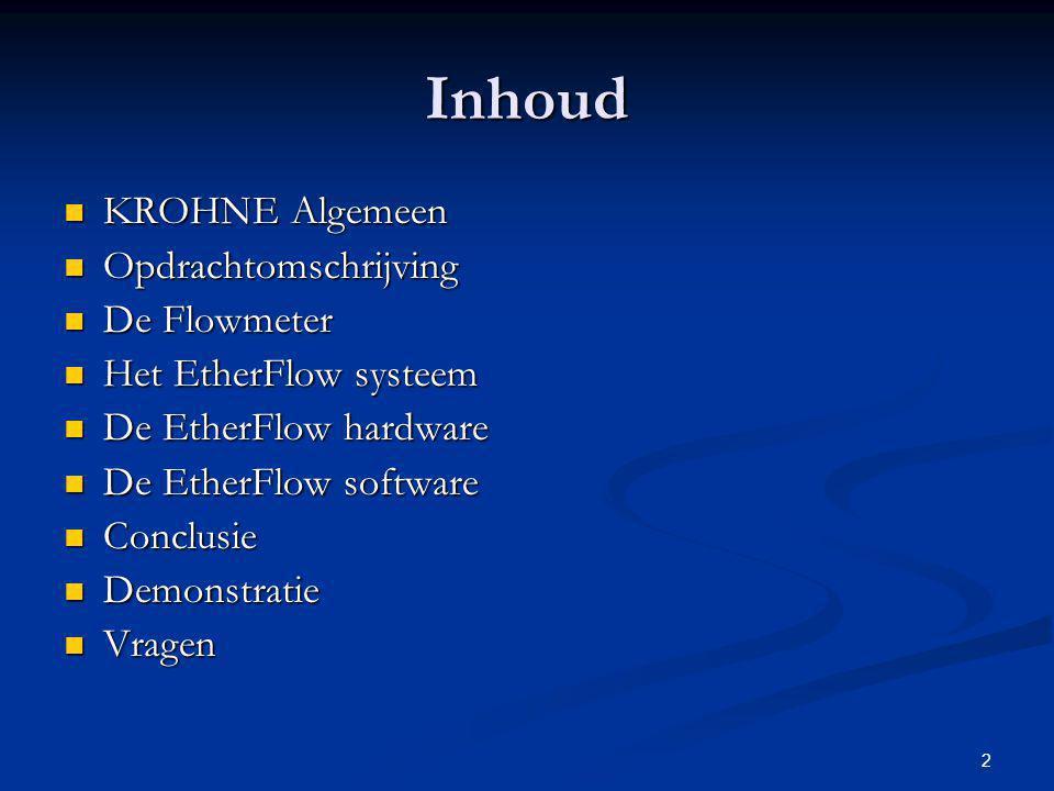 2 Inhoud KROHNE Algemeen KROHNE Algemeen Opdrachtomschrijving Opdrachtomschrijving De Flowmeter De Flowmeter Het EtherFlow systeem Het EtherFlow syste
