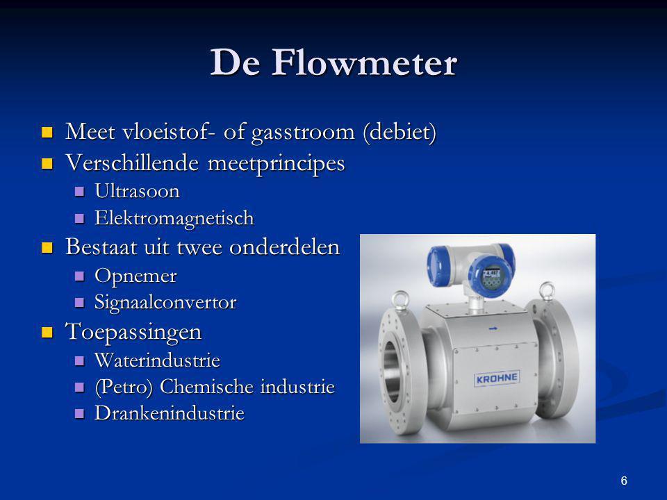 6 Meet vloeistof- of gasstroom (debiet) Meet vloeistof- of gasstroom (debiet) Verschillende meetprincipes Verschillende meetprincipes Ultrasoon Ultras