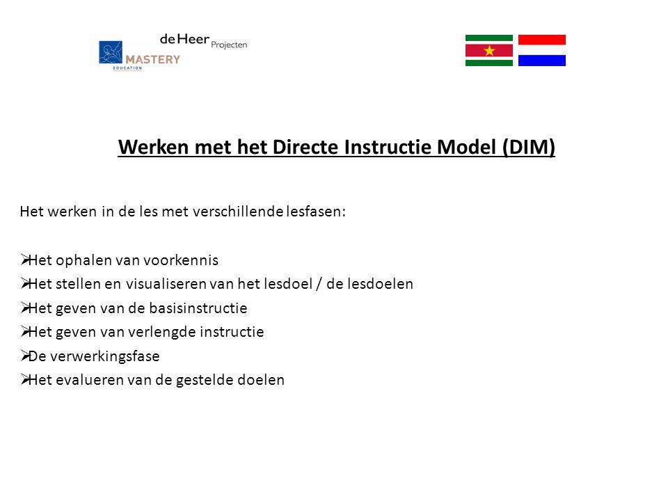 Werken met het Directe Instructie Model (DIM) Het werken in de les met verschillende lesfasen:  Het ophalen van voorkennis  Het stellen en visualise