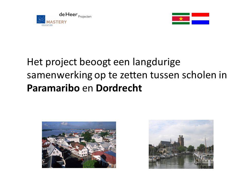Het project beoogt een langdurige samenwerking op te zetten tussen scholen in Paramaribo en Dordrecht