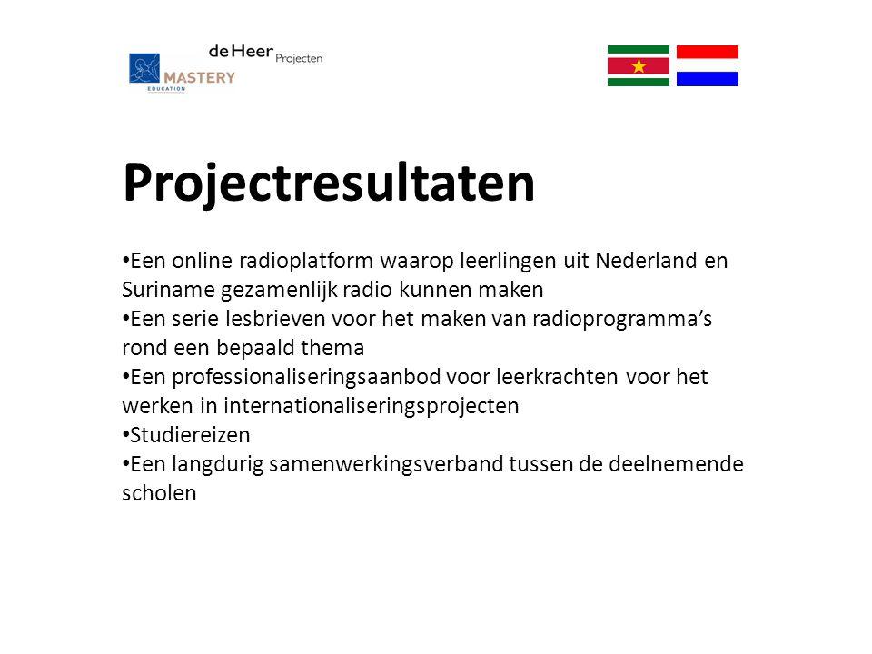 Projectresultaten Een online radioplatform waarop leerlingen uit Nederland en Suriname gezamenlijk radio kunnen maken Een serie lesbrieven voor het ma
