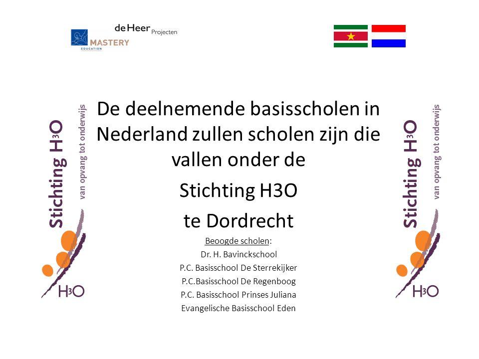 De deelnemende basisscholen in Nederland zullen scholen zijn die vallen onder de Stichting H3O te Dordrecht Beoogde scholen: Dr. H. Bavinckschool P.C.
