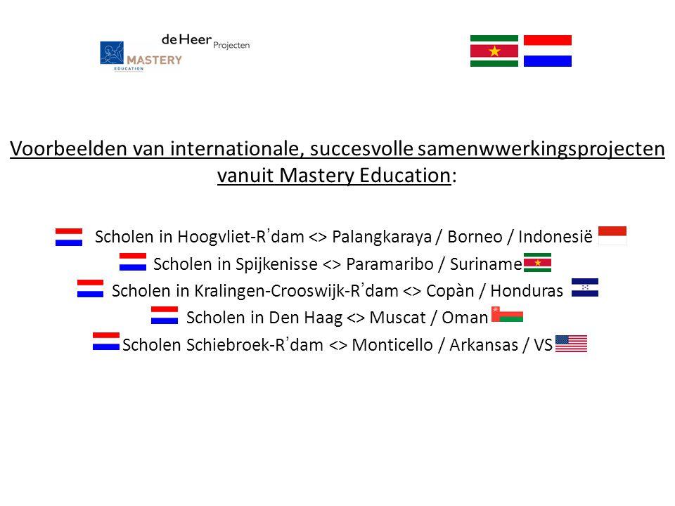 Voorbeelden van internationale, succesvolle samenwwerkingsprojecten vanuit Mastery Education: Scholen in Hoogvliet-R'dam <> Palangkaraya / Borneo / In