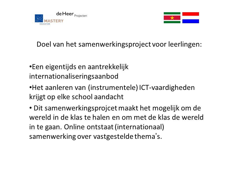Doel van het samenwerkingsproject voor leerlingen: Een eigentijds en aantrekkelijk internationaliseringsaanbod Het aanleren van (instrumentele) ICT-va