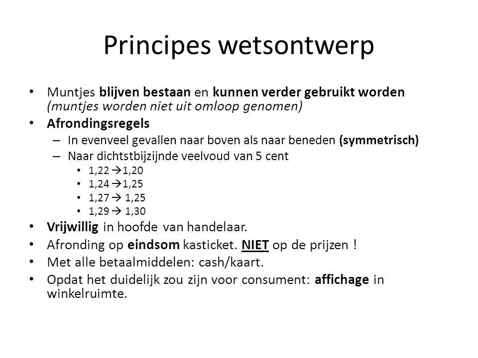 Principes wetsontwerp Muntjes blijven bestaan en kunnen verder gebruikt worden (muntjes worden niet uit omloop genomen) Afrondingsregels – In evenveel