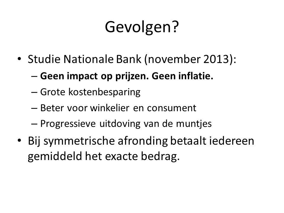 Gevolgen? Studie Nationale Bank (november 2013): – Geen impact op prijzen. Geen inflatie. – Grote kostenbesparing – Beter voor winkelier en consument