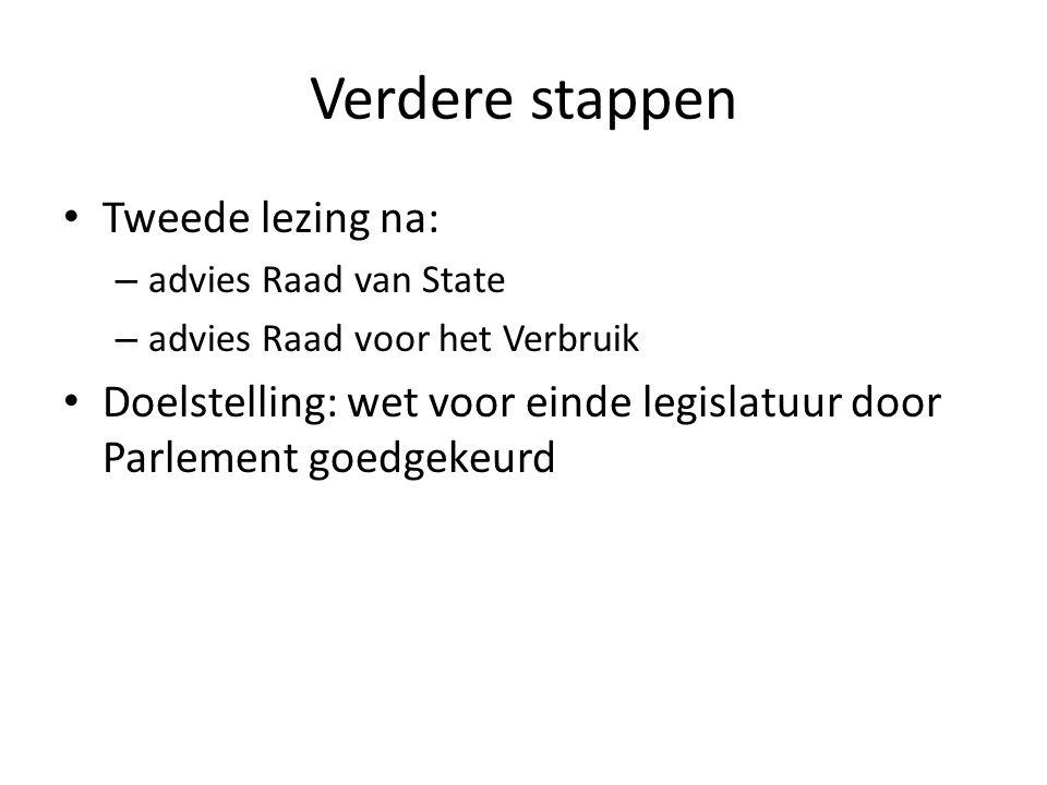 Verdere stappen Tweede lezing na: – advies Raad van State – advies Raad voor het Verbruik Doelstelling: wet voor einde legislatuur door Parlement goed