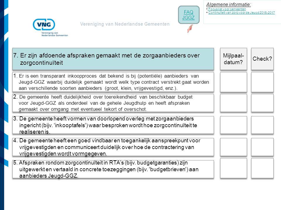 Vereniging van Nederlandse Gemeenten 7. Er zijn afdoende afspraken gemaakt met de zorgaanbieders over zorgcontinuïteit 1. Er is een transparant inkoop