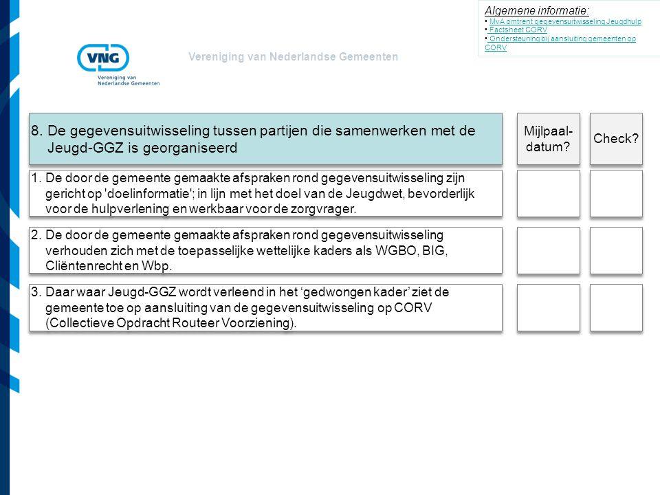 Vereniging van Nederlandse Gemeenten 1. De door de gemeente gemaakte afspraken rond gegevensuitwisseling zijn gericht op 'doelinformatie'; in lijn met