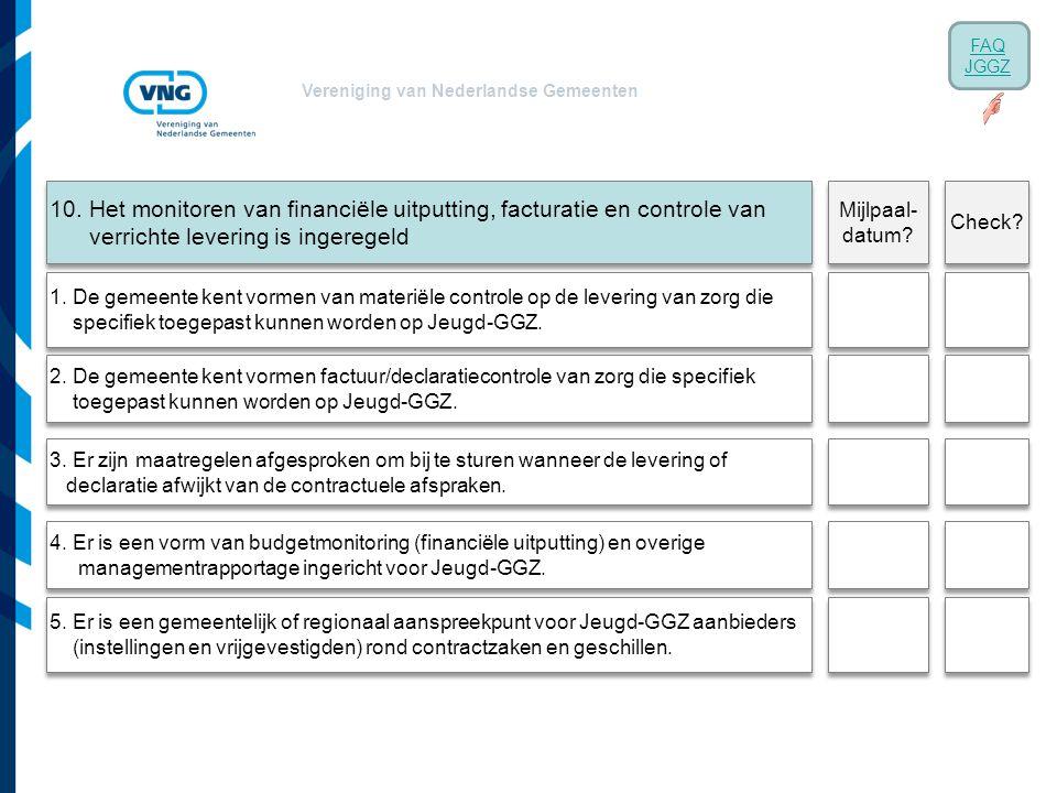 Vereniging van Nederlandse Gemeenten 10. Het monitoren van financiële uitputting, facturatie en controle van verrichte levering is ingeregeld 1. De ge