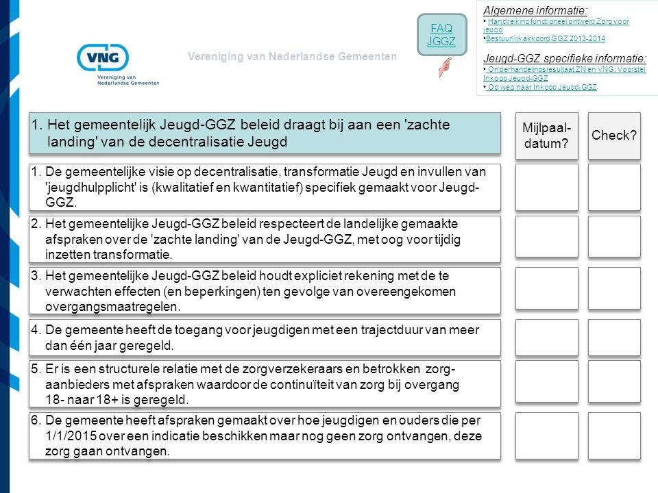 Vereniging van Nederlandse Gemeenten 1. Het gemeentelijk Jeugd-GGZ beleid draagt bij aan een 'zachte landing' van de decentralisatie Jeugd 4. De gemee