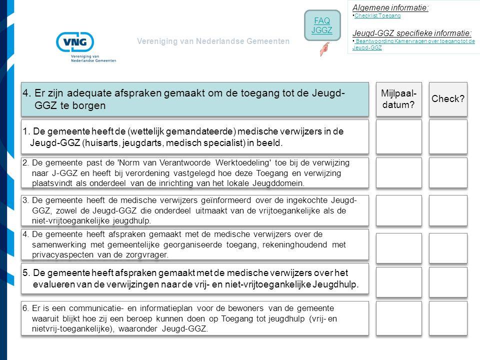 Vereniging van Nederlandse Gemeenten 4. Er zijn adequate afspraken gemaakt om de toegang tot de Jeugd- GGZ te borgen 3. De gemeente heeft de medische