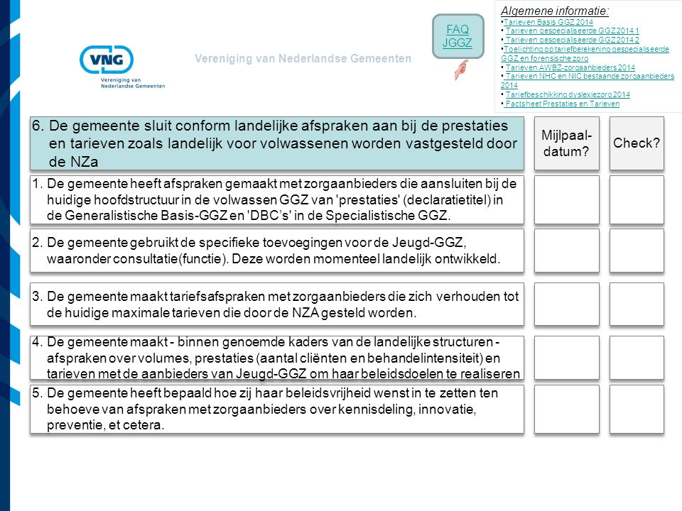 Vereniging van Nederlandse Gemeenten 1. De gemeente heeft afspraken gemaakt met zorgaanbieders die aansluiten bij de huidige hoofdstructuur in de volw