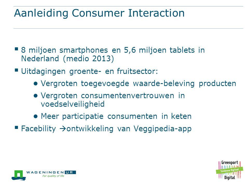 Aanleiding Consumer Interaction  8 miljoen smartphones en 5,6 miljoen tablets in Nederland (medio 2013)  Uitdagingen groente- en fruitsector: ● Verg