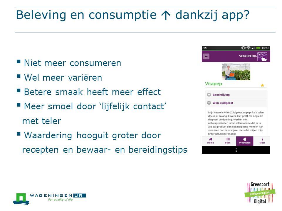 Beleving en consumptie  dankzij app?  Niet meer consumeren  Wel meer variëren  Betere smaak heeft meer effect  Meer smoel door 'lijfelijk contact