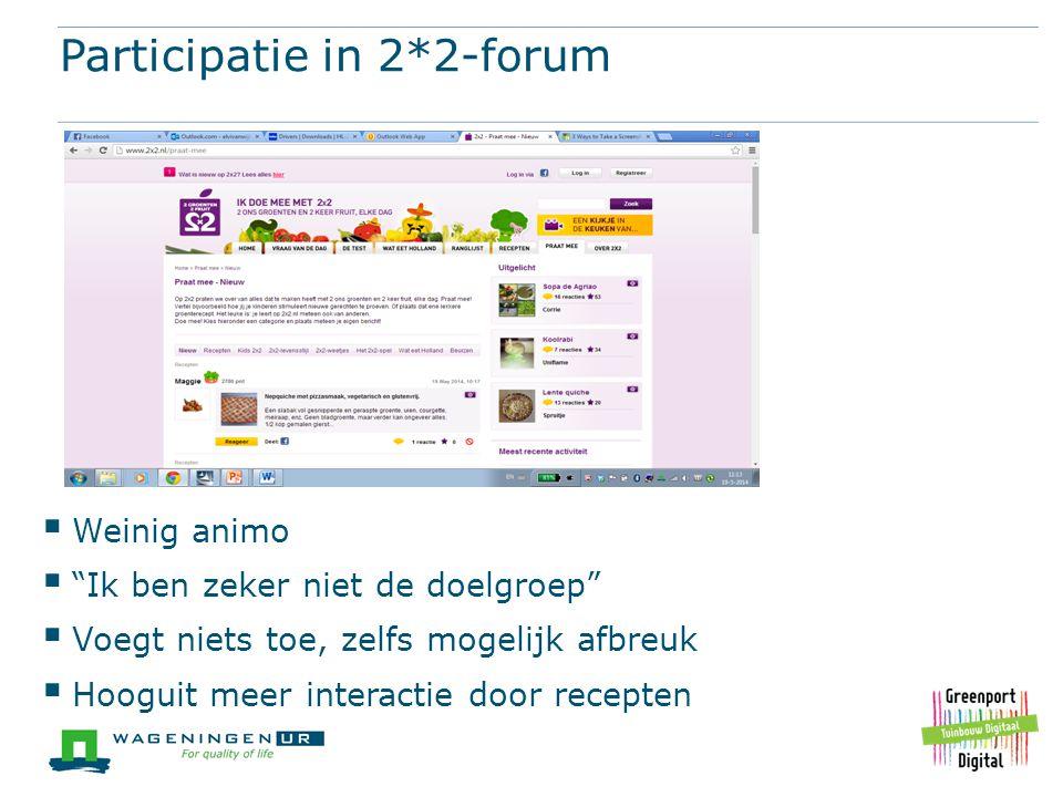 """Participatie in 2*2-forum  Weinig animo  """"Ik ben zeker niet de doelgroep""""  Voegt niets toe, zelfs mogelijk afbreuk  Hooguit meer interactie door r"""