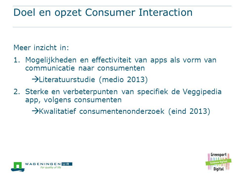 Doel en opzet Consumer Interaction Meer inzicht in: 1.Mogelijkheden en effectiviteit van apps als vorm van communicatie naar consumenten  Literatuurs