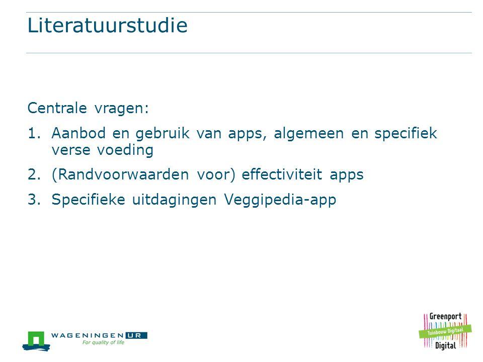 Literatuurstudie Centrale vragen: 1.Aanbod en gebruik van apps, algemeen en specifiek verse voeding 2.(Randvoorwaarden voor) effectiviteit apps 3.Spec