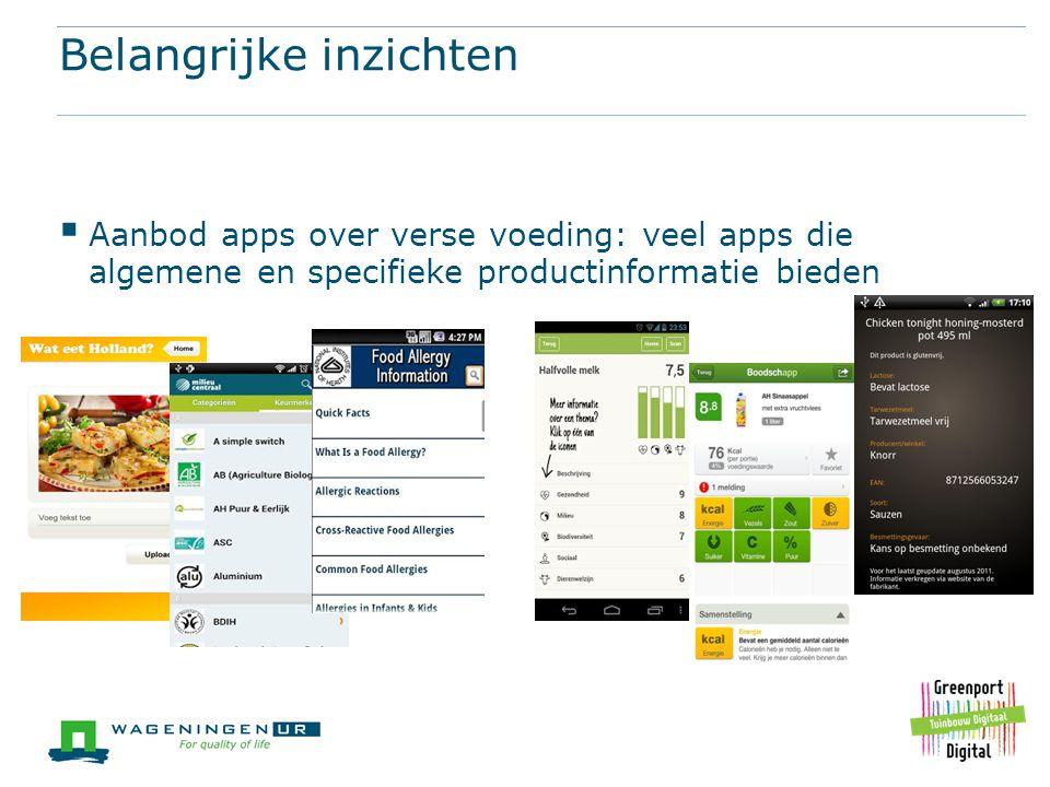 Belangrijke inzichten  Aanbod apps over verse voeding: veel apps die algemene en specifieke productinformatie bieden