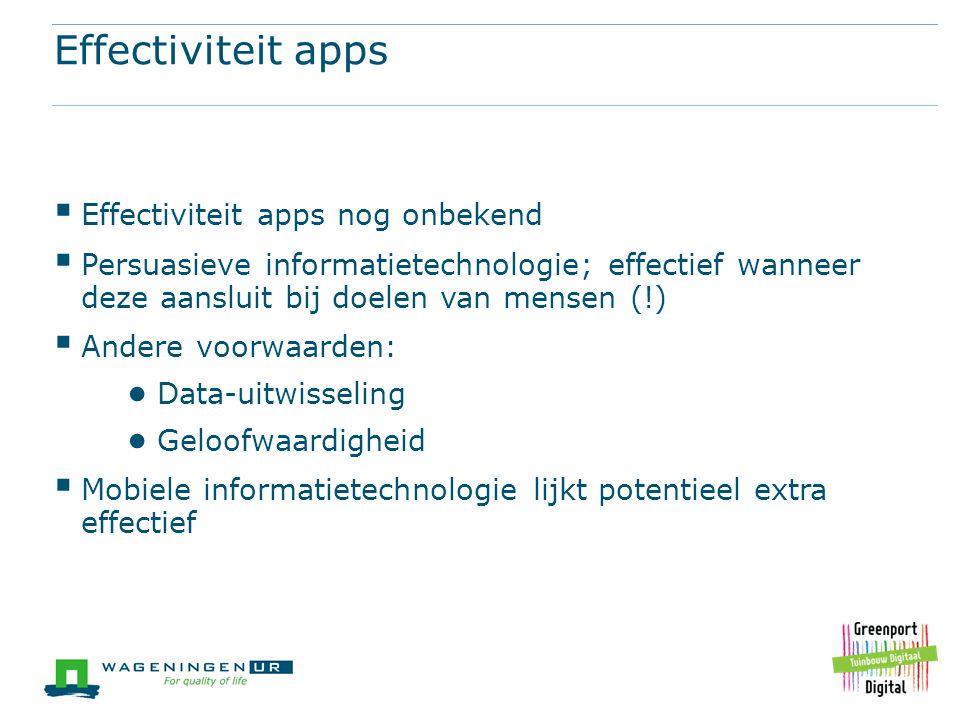 Effectiviteit apps  Effectiviteit apps nog onbekend  Persuasieve informatietechnologie; effectief wanneer deze aansluit bij doelen van mensen (!) 