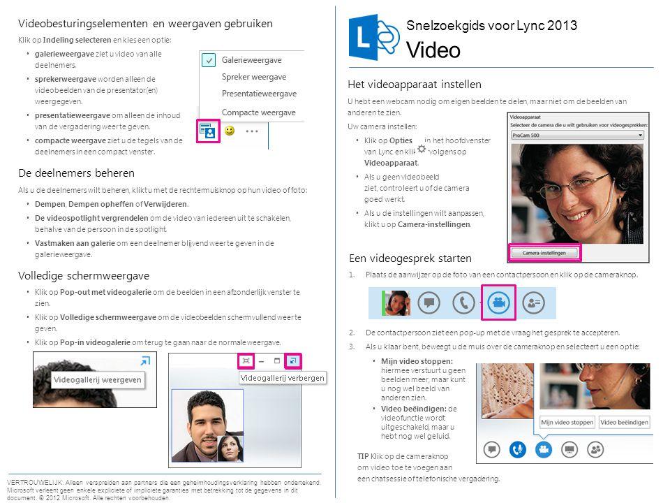 Snelzoekgids voor video Een videogesprek starten 1.Plaats de aanwijzer op de foto van een contactpersoon en klik op de cameraknop. 2.De contactpersoon