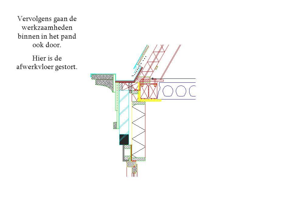Buiten kunnen ze na het afwerken van de goot beginnen met het stucwerk wat op het metselwerk komt.