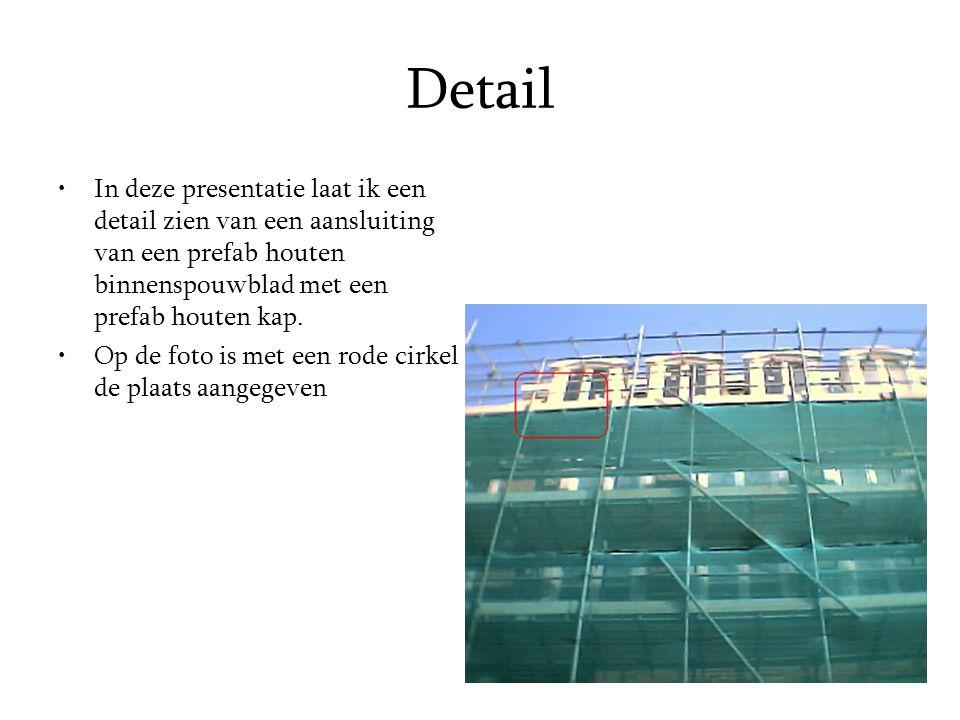 Detail In deze presentatie laat ik een detail zien van een aansluiting van een prefab houten binnenspouwblad met een prefab houten kap. Op de foto is