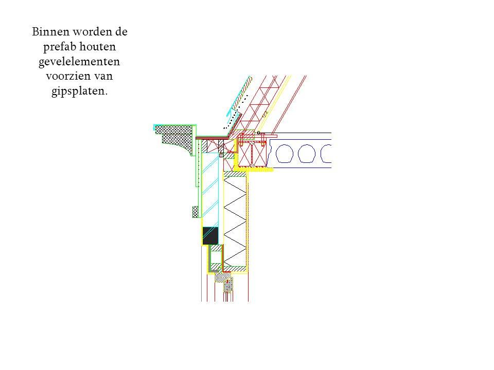 Binnen worden de prefab houten gevelelementen voorzien van gipsplaten.