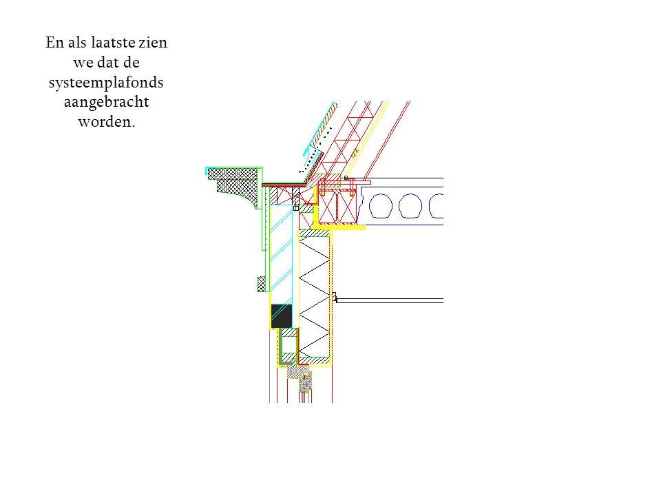 En als laatste zien we dat de systeemplafonds aangebracht worden.