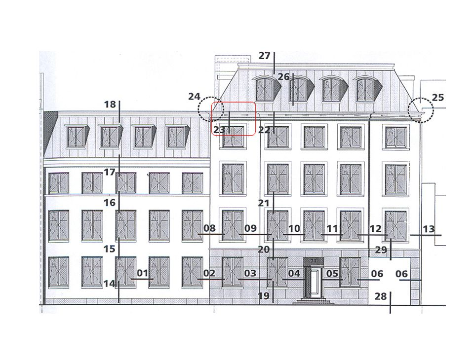 Hiernaast is het detail te zien van de dakaansluiting van de 4e verdieping.