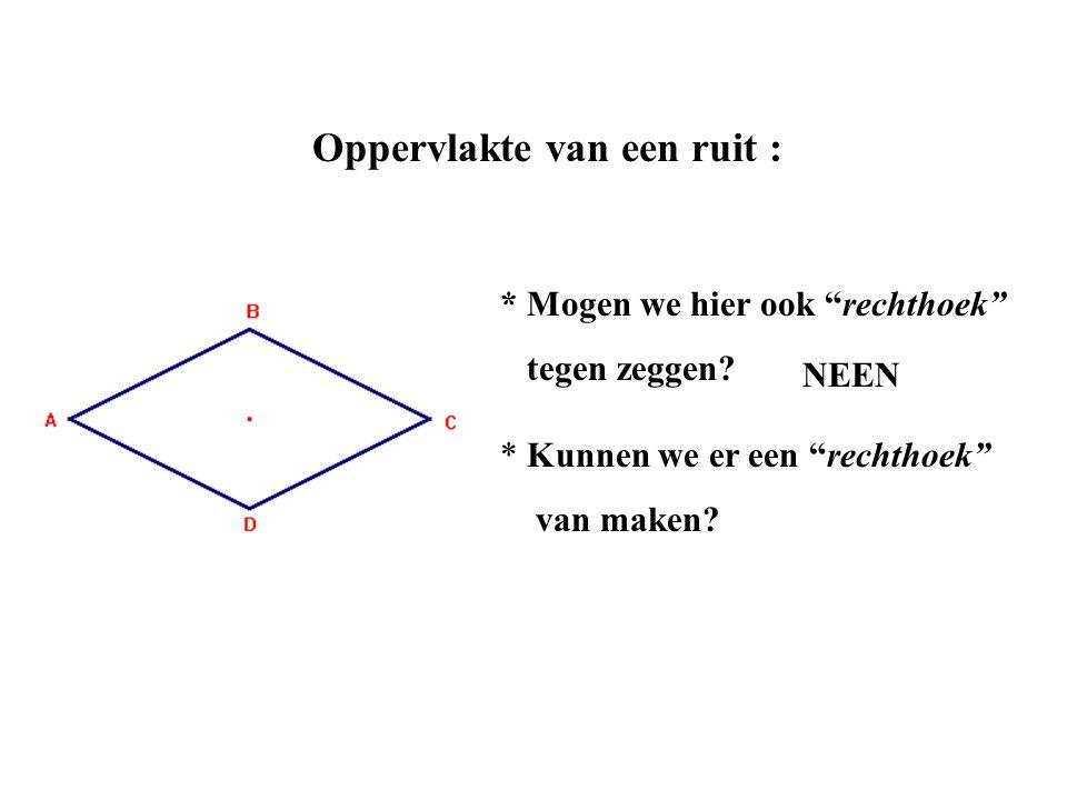 """Oppervlakte van een ruit : * Mogen we hier ook """"rechthoek"""" tegen zeggen? NEEN * Kunnen we er een """"rechthoek"""" van maken?"""