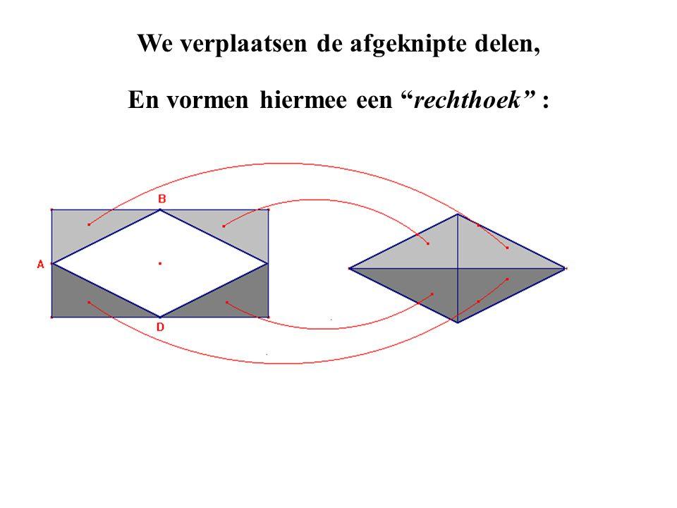 """En vormen hiermee een """"rechthoek"""" : We verplaatsen de afgeknipte delen,"""