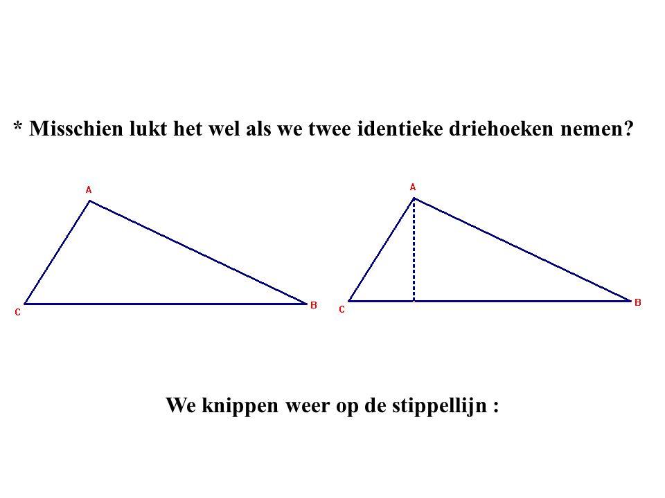 * Misschien lukt het wel als we twee identieke driehoeken nemen? We knippen weer op de stippellijn :