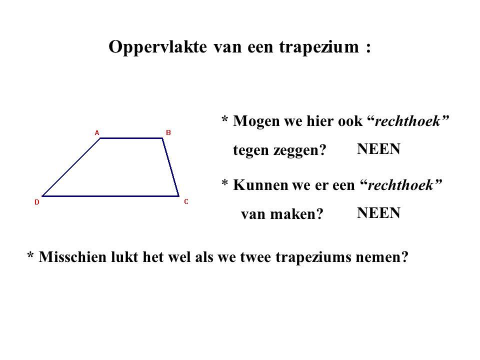 """Oppervlakte van een trapezium : * Mogen we hier ook """"rechthoek"""" tegen zeggen? * Kunnen we er een """"rechthoek"""" van maken? NEEN * Misschien lukt het wel"""
