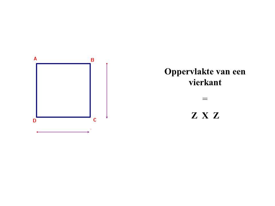 Oppervlakte van een vierkant = Z X Z