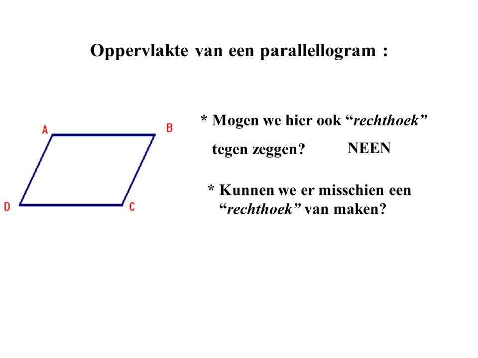 """Oppervlakte van een parallellogram : * Mogen we hier ook """"rechthoek"""" tegen zeggen? * Kunnen we er misschien een """"rechthoek"""" van maken? NEEN"""