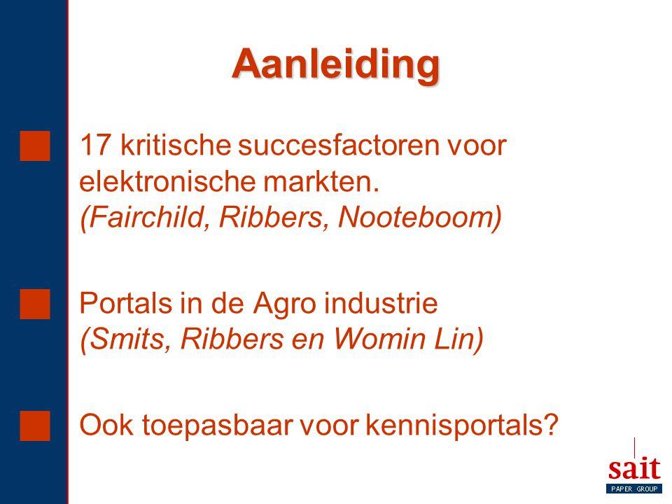 Aanleiding  17 kritische succesfactoren voor elektronische markten. (Fairchild, Ribbers, Nooteboom)  Portals in de Agro industrie (Smits, Ribbers en