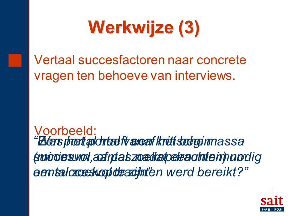 """Werkwijze (3)  Vertaal succesfactoren naar concrete vragen ten behoeve van interviews. Voorbeeld: """"Een portal heeft een kritische massa (minimum aant"""