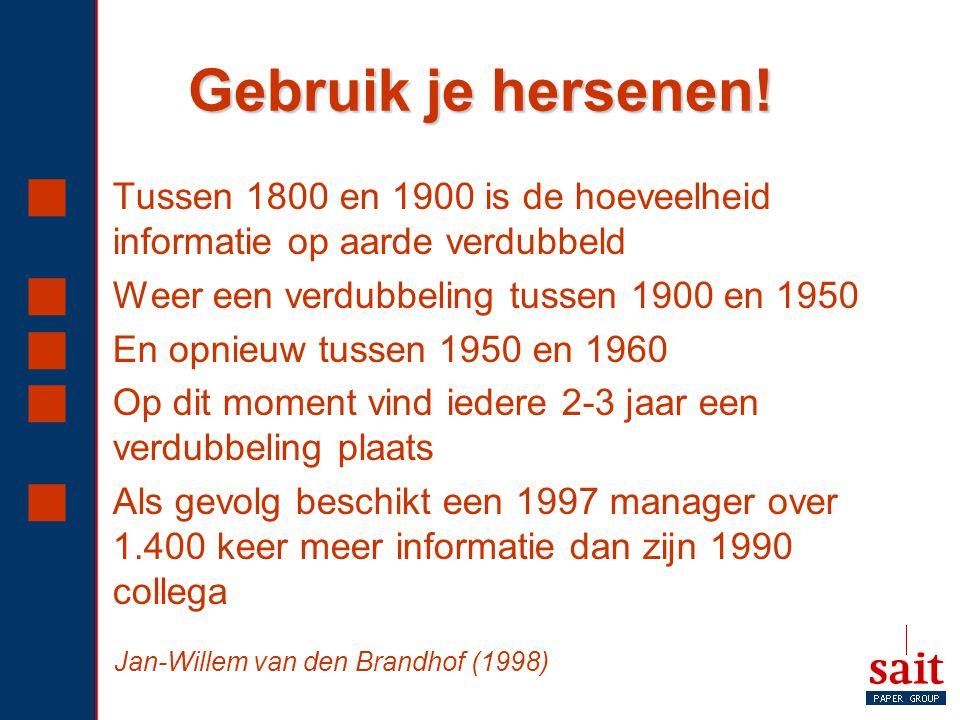 Gebruik je hersenen!  Tussen 1800 en 1900 is de hoeveelheid informatie op aarde verdubbeld  Weer een verdubbeling tussen 1900 en 1950  En opnieuw t