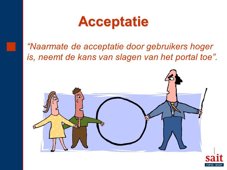 """Acceptatie  """"Naarmate de acceptatie door gebruikers hoger is, neemt de kans van slagen van het portal toe""""."""