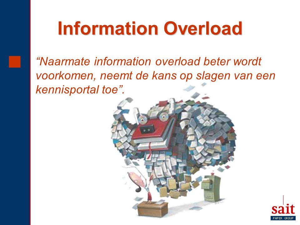 """Information Overload  """"Naarmate information overload beter wordt voorkomen, neemt de kans op slagen van een kennisportal toe""""."""